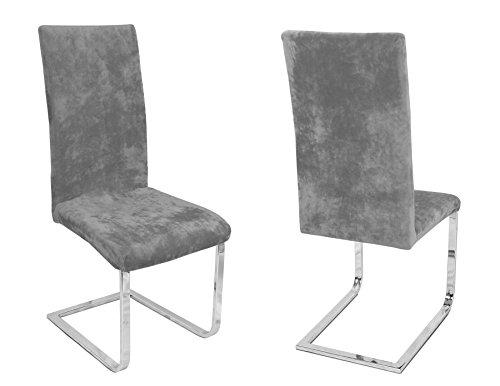 Beautex 2er Set Stuhlhussen, elastische Stretch Hussen Bi-Elastic, Motiv und Farbe wählbar (Motiv Maya, Farbe Grau)