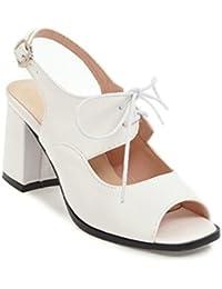 SHINIK Zapatos de mujer PU Primavera Verano Sandalias Chunky Heel Peep Toe Con cordones Para Boda Casual Fiesta...