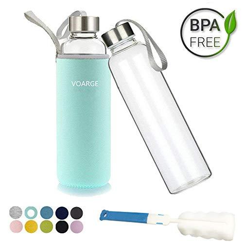 Voarge Glasflasche - BPA-frei 550ml Trinkflasche Classic mit Nylon Tasche - für Auto - für Unterwegs Sport Flasche Glas Flasche Water Bottle Wasserflasche Trinkflasche aus Glas (Minze Grüne)