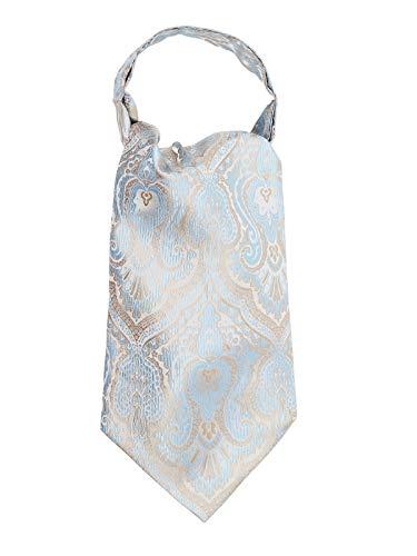 WANYING Herren Krawattenschal Ascotkrawatte Schal Cravat Ties Einfach Schick für Gentleman - Gold & Hellblau & Weiß (Tuxedo Gold)