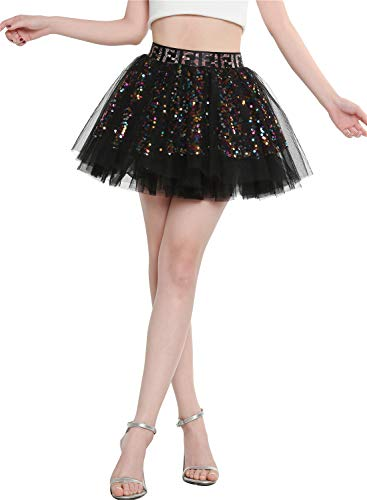Berylove 9001 Damen Tüllrock Party Falten Rock Glitzernd Pailletten Petticoat Mini Tanzrock Tutu Schwarz S