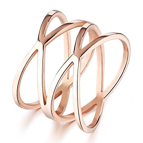UM Schmuck Klassisch Damen Edelstahl hohlen heraus Kreuz Ringe Rosen Gold (Kreuz Ring Gold)