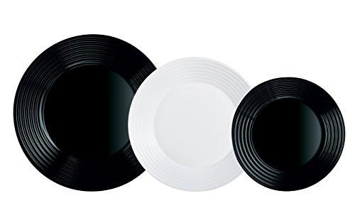 Luminarc Harena N&B Vajilla de 18 Piezas, Blanco Y Negro