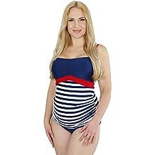 Schwangerschafts-Umstands-Tankini-Umstands-Bademode für Schwangere, Bandeau-Tankini in Streifen-Design in Blau-Weiß, auch in Übergrößen, mit UV-Schutz 50, HERZMUTTER (7000)