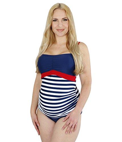 Umstands-Tankini-Umstands-Bademode für Schwangere, Bandeau-Tankini in Streifen-Design in Blau-Weiß mit UV-Schutz 50