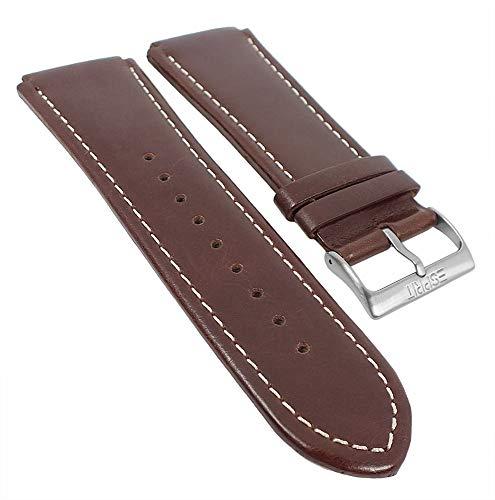 Esprit Uhrenarmband Leder Band glatt mit Kontrastnaht braun 24mm für ES101631006