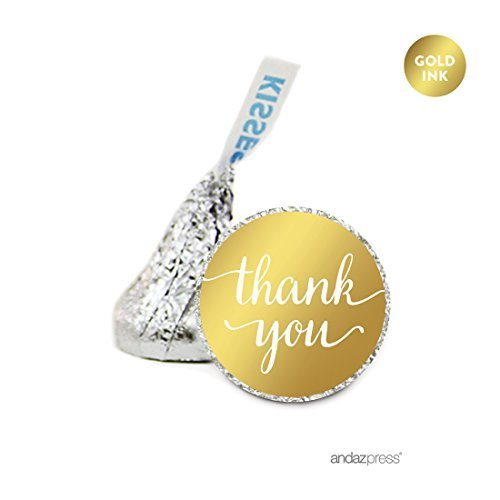 Andaz Press Chocolate Drop Labels, Metallic Gold Ink, Thank You! Script, 216-Pack, Fits Hershey's Kisses, Not Gold Foil, Gold Stationery, Invitations, Decorations by Andaz Press (Gold Hershey Kisses)