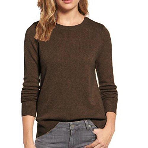Sannysis Frauen Herbst Winter Hemd O-Ausschnitt Gestrickte Langarm Pullover Sweatshirt Jumper Tops (XL, Braun) (Hülse Jacke Leder Baseball)