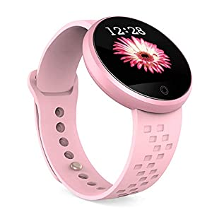 B36 Damen Fitness-Tracker, wasserdicht, Smart-Watch, verstellbares Armband, Touchscreen, Bluetooth, Outdoor, Schrittzähler, Blutdruck, Herzfrequenz für Android/iOS