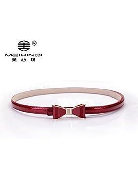 SILIU*Pajarita cinturón de cuero con cientos de vestidos finos decorados en rojo , Sra. correa azul
