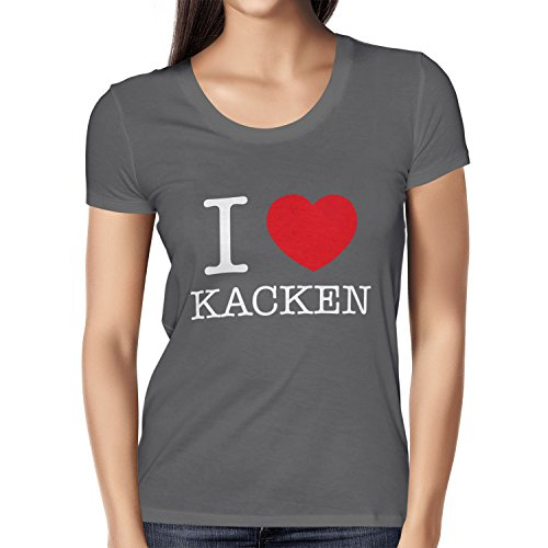 TEXLAB - I Love kacken - Damen T-Shirt Grau