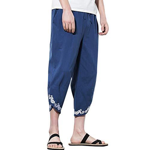 Passform-fleece Gefüttert-jeans (Herren-Haremshose in Übergröße, lockere Leinen, bequem, elastische Taille, Taschen für Sport, Laufen, Jogger, Fitness L navy)