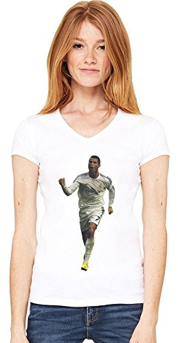 Powerful Cristiano Ronaldo Damen V-Ausschnitt T-Shirt Medium -