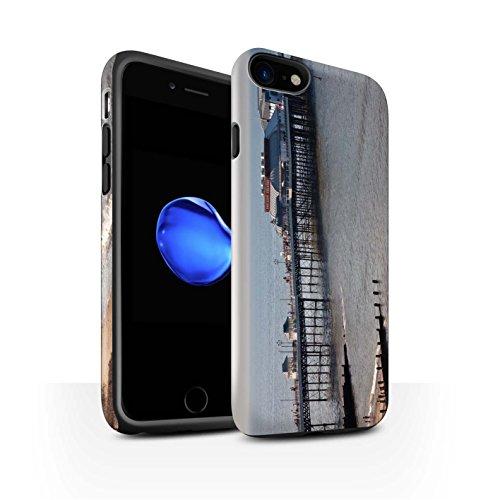 STUFF4 Matte Harten Stoßfest Hülle / Case für Apple iPhone 8 / Hütte Muster / Britischen Küste Kollektion Seebrücke