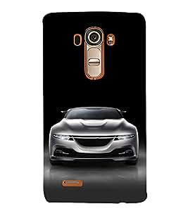 FUSON White Metalic Sports Car 3D Hard Polycarbonate Designer Back Case Cover for LG G4 :: LG G4 Dual LTE :: LG G4 H818P H818N :: LG G4 H815 H815TR H815T H815P H812 H810 H811 LS991 VS986 US991