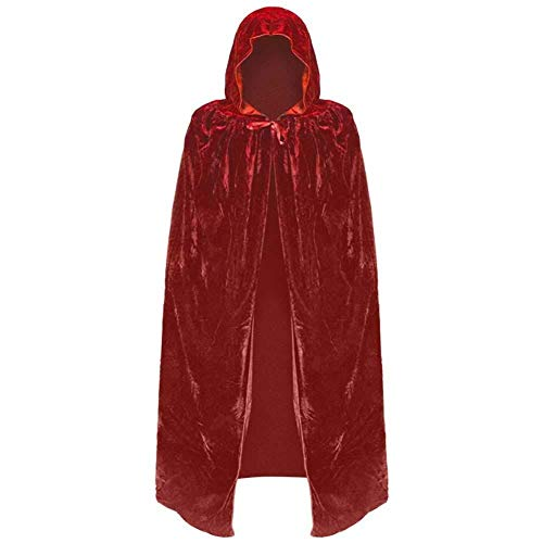 Wizard Robe Red Kostüm - Hcxbb-b Kostüm, Unisex, Kapuzenhexe Umhang Cape Robe, Velvet Devil Wizard Halloween Weihnachten Cosplay Kostüme for Erwachsene (Farbe : Red, Size : S)