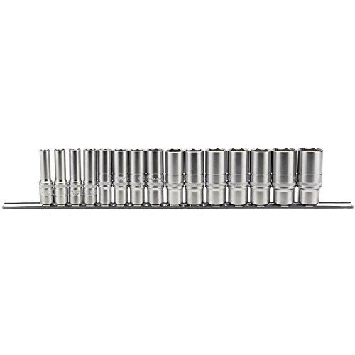 Draper 16494 Steckschlüsselsatz auf Metallschiene, 3/8-Zoll-Vierkantantrieb, metrisch, 15-teilig