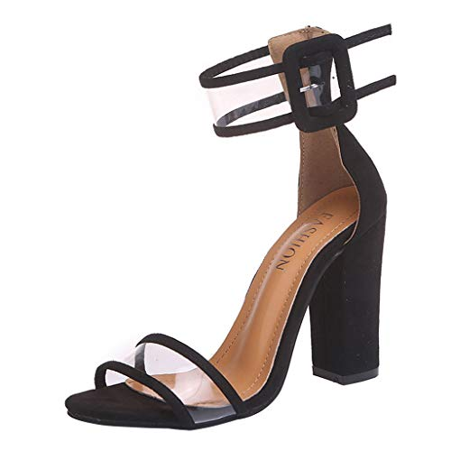 LILIGOD Damen Sandalen Sommer High Heels Outdoor-Schuhe Bequeme Rutschfeste Schuhe Mode Freizeitschuhe Quadratische Ferse Schnalle Schuhe Party Einfache Schuhe Prinzessin Schuhe