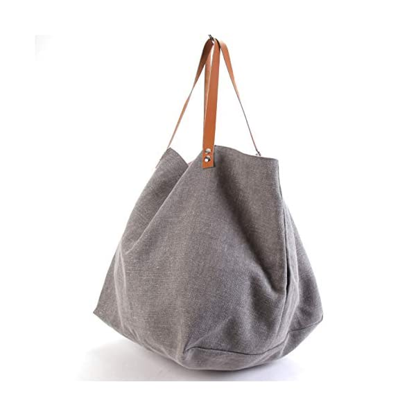 Gray tote with a glittery pink interior - handmade-bags