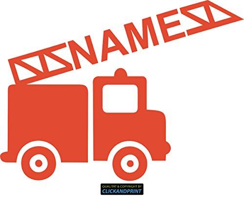 CLICKANDPRINT Aufkleber » Feuerwehr mit Namen, 40x29,7cm, Orangerot • Wandtattoo / Wandaufkleber / Wandsticker / Wanddeko / Vinyl Home-feuerwehr Leiter