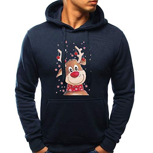 (OverDose Damen Pullover Bluse Herren Langarm Weihnachten Partei Bar Cosplay Schlank Charming Casual Sweatshirt Hoodies Trainingsanzüge Für Herbst Winter(Marine,EU-44/CN-M ))