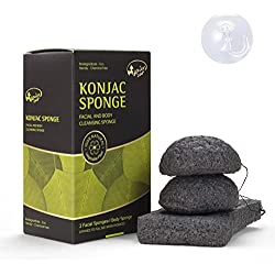 Éponge Konjac, Kaiercat éponge 100% naturelle pour visage & corps, doux gommage, nettoyage en profondeur, pour peau sensible, grasse et à tendance acnéique (Bamboo Charcoal)