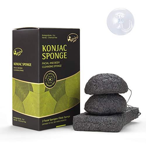 Kaiercat® Spugna di Konjac 100% naturale per viso & corpo, Delicatamente esfoliante, pulizia profonda, per pelle sensibile, grassa & incline all'acne (Carbone di Bambù)