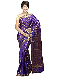 Mimosa Women's Art Silk Zari Work Saree With Blouse Piece - 103-KP-VOIL_Violet And Gold_Free Size