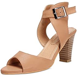 Meriggiare Women's Beige Heel Fashion Sandal - 4 Uk/37 Eu