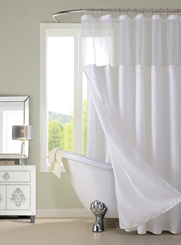 Dainty Home CSCDLSA Duschvorhang, Waffelstruktur, Abnehmbarer Einsatz, 178 x 183 cm, Grün 72 inch Wide x 72 inch Long, Pique White