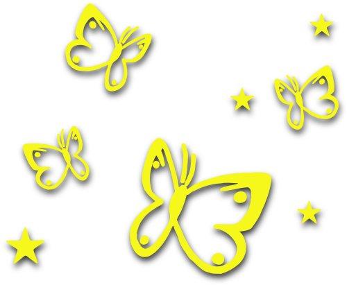 MIXED SET 4 Gelbe Schmetterlinge und 4 Sterne selbstklebende Autoaufkleber Butterfly Sticker Outdoor, Wandtattoo, Wandbild & Fensterbild, Türaufkleber Kinderzimmer