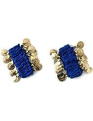 la danse du ventre bracelet de chaîne de main bijoux à la main bracelets avec des pièces de couleur or (la paire) en bleu foncé NOUVEAU
