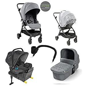 Baby Jogger City Tour LUX Compact Fold Travel System, Includes Reversible Stroller, Carrycot, I-Size Car seat and Iso-fix Base and Accessories, Slate Grey   15