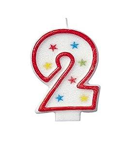 Número 2 del brillo cumpleaños Vela y decoración de la torta del feliz cumpleaños