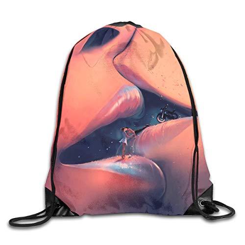 HLKPE Lovers In The Kiss Gym Sport Bag Drawstring Bag Backpack Draw Cord Bag Men Women Gym Sport Yoga Dance Travel - Tan Khaki Cord