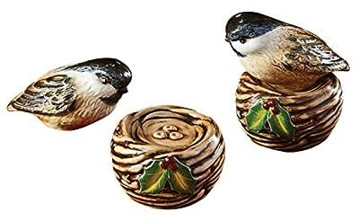 Winter Bird on Nest Stacking Salt and Pepper Shaker Set Ceramic by Park Designs