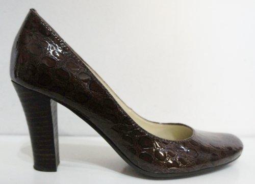Imprimé Serpent brevet en cuir véritable Cour Chaussures Marron