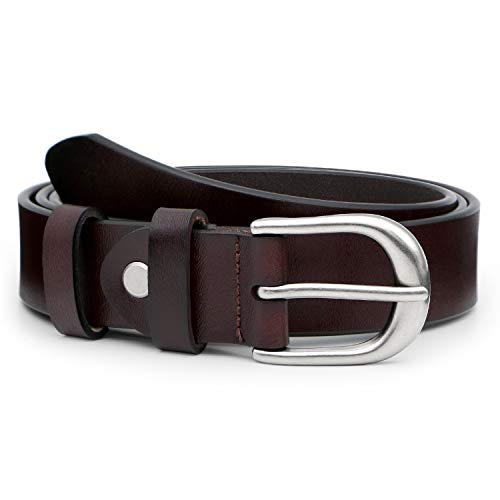 JasGood Damen Ledergürtel 2.8cm Breite Qualität Western Design Gürtel Legierung Schnalle für Jeans Hosen