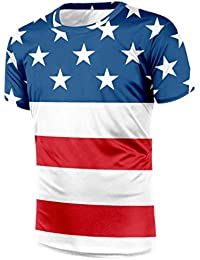 deca33fdc9c Outtop Men s Fashion American Flag Stars Stripe Print T-Shirts Short Sleeve  Tops