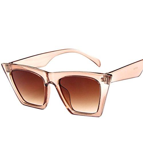 URSING Mode Damen Oversized Übergroße Sonnenbrille Vintage Retro Mode Katzenauge Brille Sonnenbrille Super Coole Damenbrillen Frauen Women Cat Eye Sunglasses Travel Eyewear (Beige)