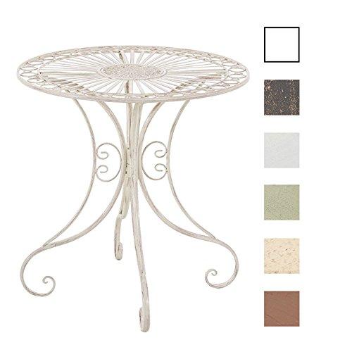 CLP Table de Jardin en Fer Forgé HARI - Table de Terrasse au Style Antique - Table Jardin en Fer avec un Diamètre de Ø 70 cm et une Hauteur de 73 cm - Meuble de Jardin Romantique - Couleurs au choix: crème antique