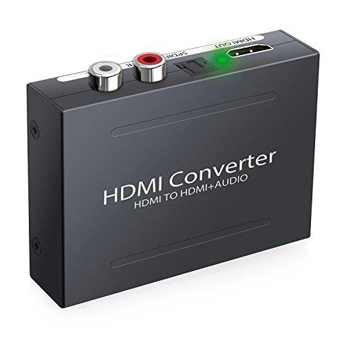 Tiancai Digital Audio Digital Konverter HDMI zu HDMI + SPDIF / Toslink + RCA L / R Audio Konverter Adapter Glasfaser Ausgang (Hdmi-zu-glasfaser-konverter)
