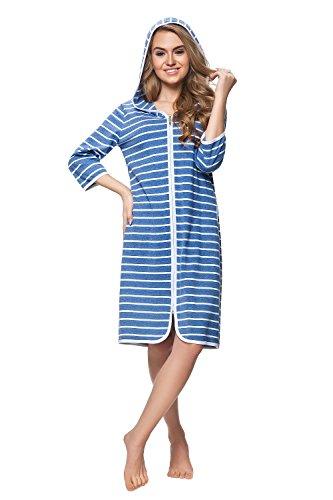 DOROTA kuscheliger und moderner Baumwoll-Bademantel mit Taschen, Reißverschluss & Kapuze, blau-gestreift, Gr. M