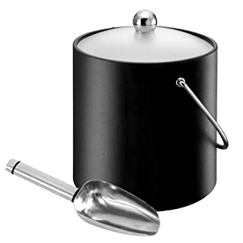 Elia Insulated Ice Bucket With Scoop Black 3ltr | Vinyl Ice Bucket With Stainless Steel Ice Scoop 1