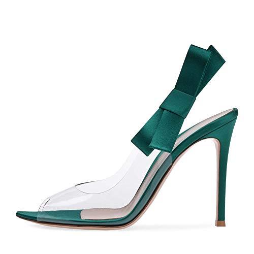 XLY Frauen offen Spitze Zehe klar PVC Stiletto Slide Sandalen Pantoletten, Slingback High Heel Hochzeit Party Pumps,Green,39 Stiletto Heel Slide