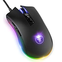 YockTec RGB Backlit Optical Gaming Mouse, High-Precise 8 Programmable Buttons Professional Wired Ergonomic Gaming Mice with 4 DPI Adjustable Level, Macro Definition for PC Computer Laptop - Black