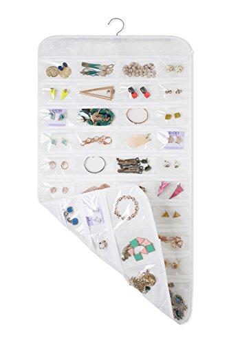 """MotGlobal Hängende Schmuck Veranstalter 80 Taschen doppelseitig Kleiderschrank Aufbewahrung für Ohrringe, Halsketten, Armbänder, weiß, 17\"""" W*34\"""" H"""