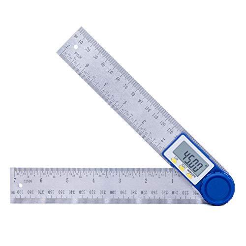 Medidor de ángulos Digital,Hanmer Regla del Buscador de ángulos Trend 200 mm con Función de Reducción a cero y Bloqueo, Pantalla LCD Digital, Batería de Moneda Incluida para Carpintería, Construcción