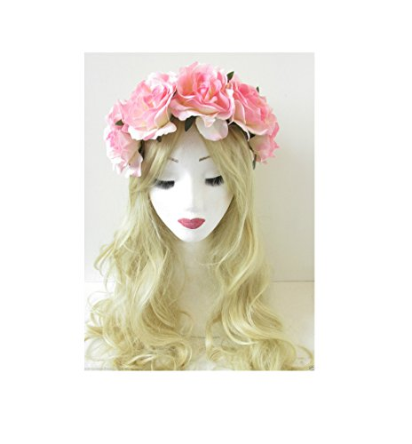 Grande guirlande rose clair rose fleur bandeau bandeau cheveux vintage Festival Big p84 * * * * * * * * exclusivement vendu par – Beauté * * * * * * * *