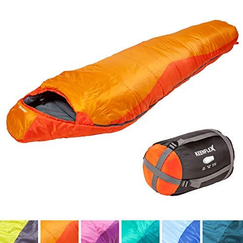 Saco de dormir KeenFlex tipo momia para 3-4 estaciones extra cálido y ligero, compacto, resistente al agua y con control de calor avanzado - ideal para festivales o hacer camping (Naranja)